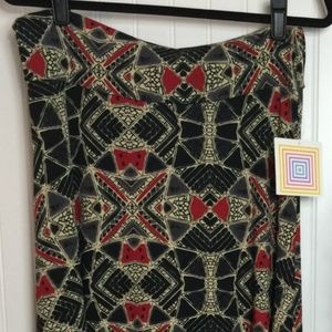 NWT LuLaRoe Maxi medium black red tan